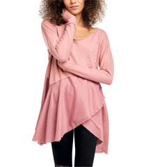 women's free people comin in hot tunic, size large - pink