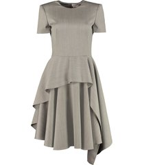 alexander mcqueen draped wool dress