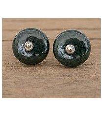 jade stud earrings, 'dark green mayan medallions (guatemala)