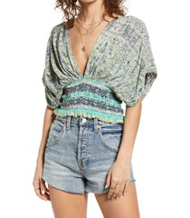women's free people smocked elastic v-neck blouse, size x-small - green