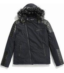 faux fur hoodie zipper patchwork parka coat