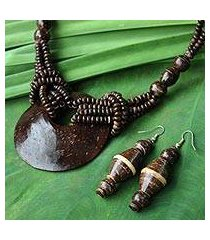 coconut shell jewelry set, 'thai princess' (thailand)