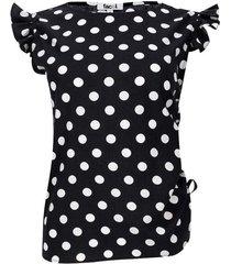 blusa estampada pepas color negro, talla 8