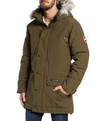 men's canada goose emory slim fit genuine coyote fur trim parka, size large - green