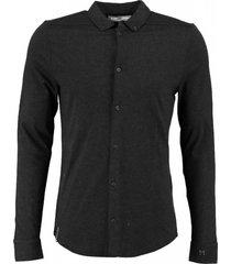 cast iron slim fit zachte stevige off black longsleeve in polo blouse stijl valt kleiner