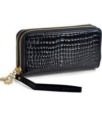 fashion women wallets long alligator pattern pu leather wallet female double zip