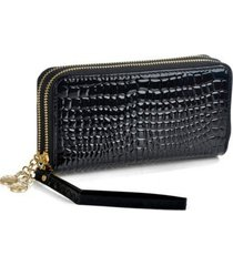 fashion women wallets long alligator pattern pu leather wallet female double zip