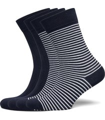 timber 4-pack socks - block striped underwear socks regular socks svart knowledge cotton apparel