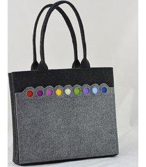 torba na ramię grafit z kolorowymi kropkami