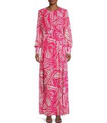 toccin women's optic brushstroke print maxi dress - raspberry - size 4