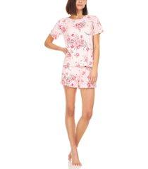 flora by flora nikrooz averie rib-knit t-shirt & shorts pajama set