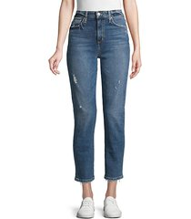 distressed ankle-length jeans