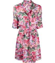 dolce & gabbana hibiscus-print short dress - pink
