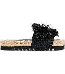 paul warmer embellished woven raffia espadrille sandals - black