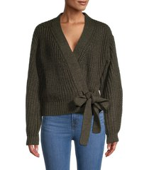 rd style women's waffle-knit wrap cardigan - blackened green - size l