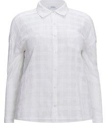rutig, jacquardvävd skjorta i bomull med lång ärm