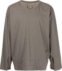 rick owens drkshdw varsity long-sleeve t-shirt - grey