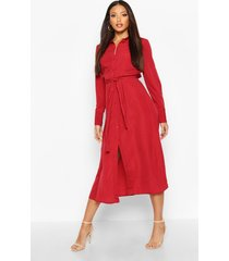 woven tie waist maxi shirt dress, burgundy