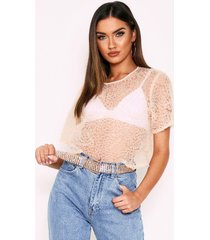 frill detail mesh crop top, nude