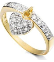 anel pingente de coracao semijoia banho de ouro 18k cravejado