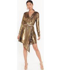 womens all that shines metallic mini dress - gold