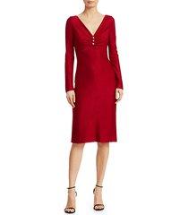 evening shimmer wool-blend v-neck dress