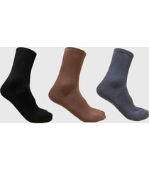calcetines tripack sport negro, gris y café aparso