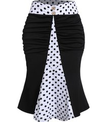 polka dot print mock button ruched mermaid skirt