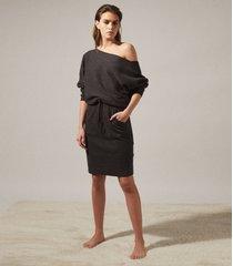 reiss amara - off-the-shoulder knitted dress in dark grey, womens, size xl