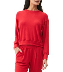 women's michael starts crewneck pullover top, size x-large - red