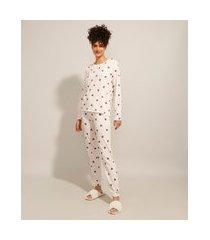 pijama manga longa estampado de corações rosa claro