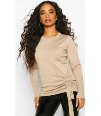 petite ruched detail crew neck sweater, stone