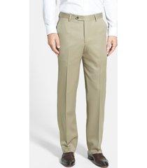 men's berle flat front classic fit wool gabardine dress pants, size 40 x - beige