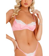 roma confidential lace trim satin underwire bra & thong set, size x-large in pink/white at nordstrom