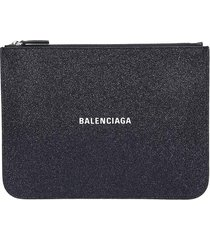 balenciaga everyday pouch clutch in black leather