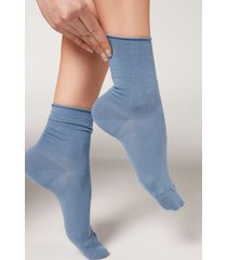 calzedonia non-elastic cotton ankle socks woman light blue size 39-41