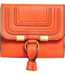 chloe marcie leather french wallet in radiant orange at nordstrom