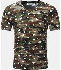 camicia a maniche corte stampata in cotone traspirante a maniche corte per uomo estate sottile vestibilità casual t camicia
