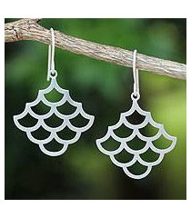 sterling silver dangle earrings, 'fish scales' (thailand)