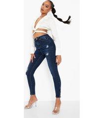 versleten skinny jeans met rits, washed indigo