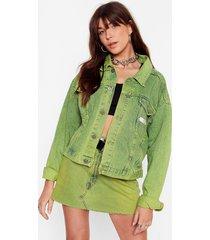 womens vintage dye-ing to see ya denim jacket - lime