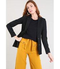 blazer feminino acinturado com bolsos preto