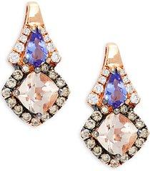 chocolatier® 14k strawberry gold®, peach morganite™, blueberry tanzanite®, vanilla diamonds® & chocolate diamonds® earrings