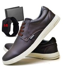 tênis sapatênis casual fashion com carteira e relógio led masculino dubuy 1401el marrom