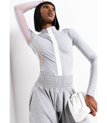 akira bet you sporty zipper detail long sleeve bodysuit