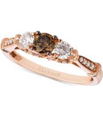 le vian chocolatier diamond trinity-style ring (5/8 ct. t.w.) in 14k rose gold