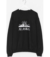 womens let us snow you the way alaska graphic sweatshirt - black
