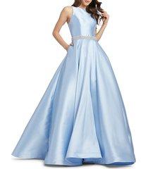 mac duggal women's embellished-waist taffeta ball gown - powder blue - size 4