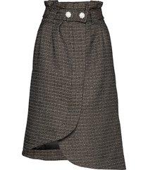 slub suiting knälång kjol grå ganni