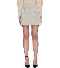 flap pocket check mini skirt